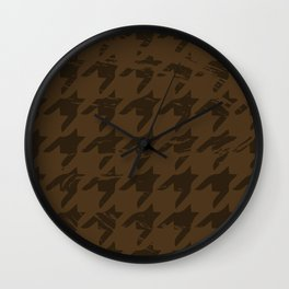 Brown Masculine Houndstooth Wall Clock