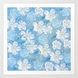 Blue Vintage Rose Pattern Art Print