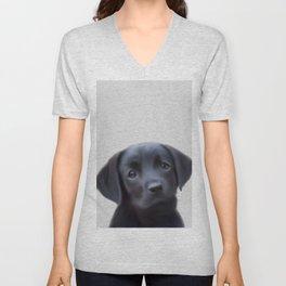 LABRADOR chiot, puppy painting, labrador art, labra puppy Unisex V-Neck
