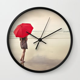 The Red Umbrella Wall Clock