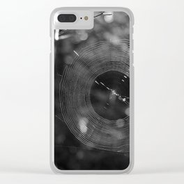 Black and White Spider Webs Clear iPhone Case