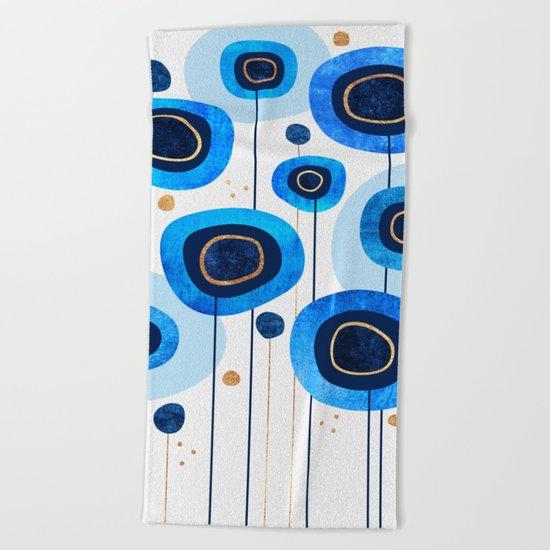 Floral Blues Beach Towel