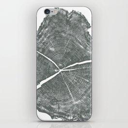 Locust Tree ring image, woodcut print iPhone Skin