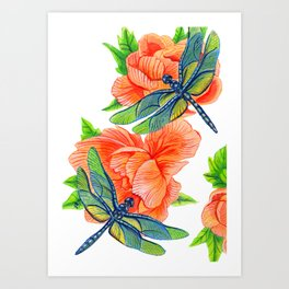 Dragonflies and Peonies Art Print