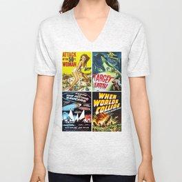 50s Sci-Fi Movie Art Collage #13 Unisex V-Neck