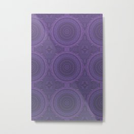 Mystic Mandala Pattern Dusty Purple Metal Print