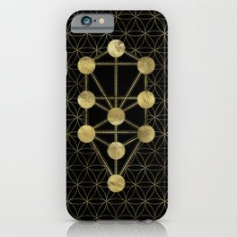 Kabbalah The Tree of Life Gold on Black N1 iPhone Case