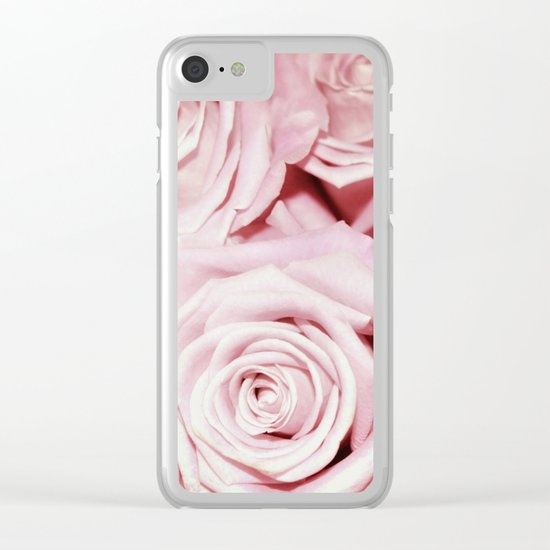 Beautiful bed of pink roses- Floral Rose Flowers Clear iPhone Case