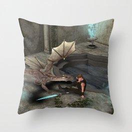 Dragon with his companion Throw Pillow