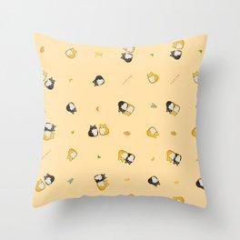Mix Shiba on Yellow Throw Pillow
