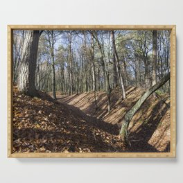 Hilly park autumn Serving Tray