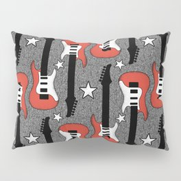 Rock and Roll_ Red and White Guitar Pillow Sham
