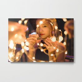 Woman Through String of Lights Metal Print