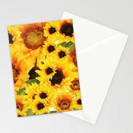Wild yellow Sunflower Field Illustration Stationery Cards
