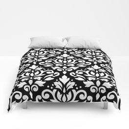 Scroll Damask Big Pattern White on Black Comforters