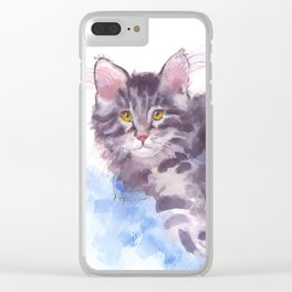 Azure Purr Clear iPhone Case