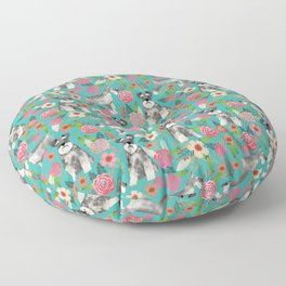 Schnauzer florals dog must have gifts for schnauzers pure breed Floor Pillow