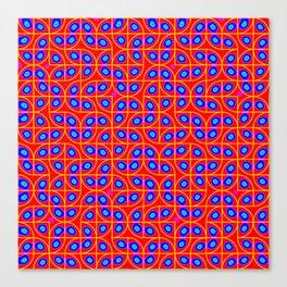 Springtime Pop Art Red & Blue Dot Pattern Canvas Print