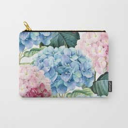Pink Blue Hydrangea Carry-All Pouch