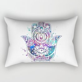 Hamsa Hand Watercolor Poster Wedding Gift Rectangular Pillow