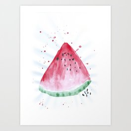 Watermelon summer watercolor illustration, food illustration, fruit Art Print