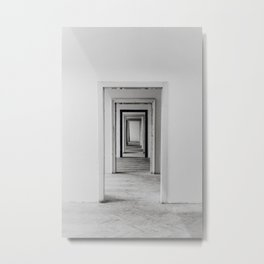 Black and White Print Abandoned Building Minimal Urban Decay White Doorways to Nowhere Metal Print