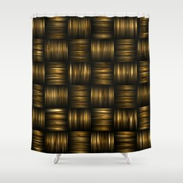 Golden Chocolate Brown Weave Shower Curtain