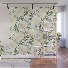 Modern blush yellow pink green watercolor botanical pattern Wall Mural