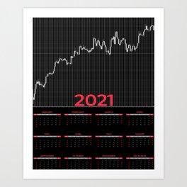 Japanese candlestick chart calendar 2021 Art Print