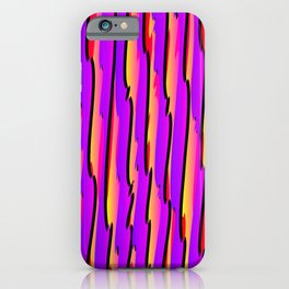 Vertical vivid curved stripes with imitation of the bark of a pink tree trunk. iPhone Case
