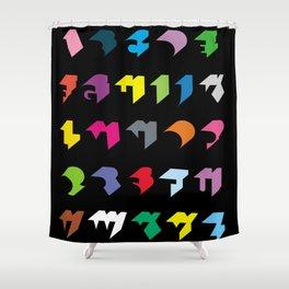 Shadow Alphabet Black Shower Curtain
