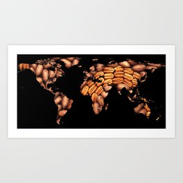 World Map Silhouette - Pecans in a Design Art Print