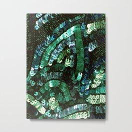 Forest Green Teal Sequin Design Metal Print