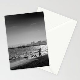 Dogs chasing ball at Rosie's Dog Beach Long Beach CA Stationery Cards