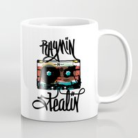 hip hop Mugs featuring Hip Hop Cassette Tape by Justin Pocta