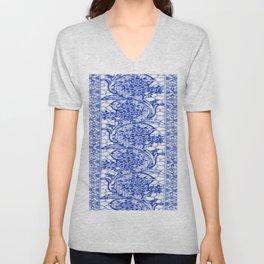 Sapphire Blue Lace Unisex V-Neck