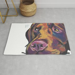 Fun Chocolate Lab Dog bright colorful Pop Art Labrador Rug