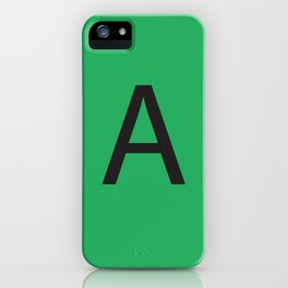 Letter A Initial Monogram - Black on Nephritis iPhone Case