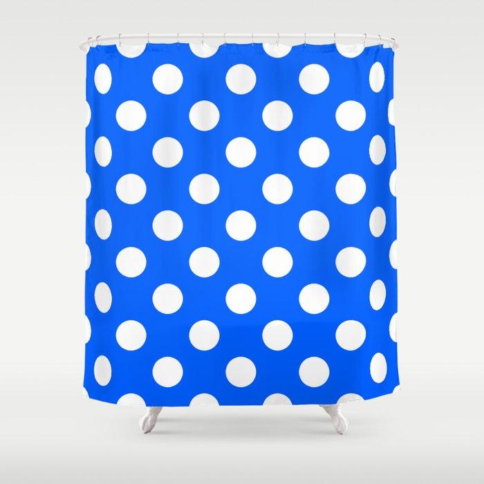 Polka Dots Pattern Blue Absolute Zero Shower Curtain