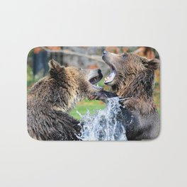 Sparring Grizzly Bears Bath Mat