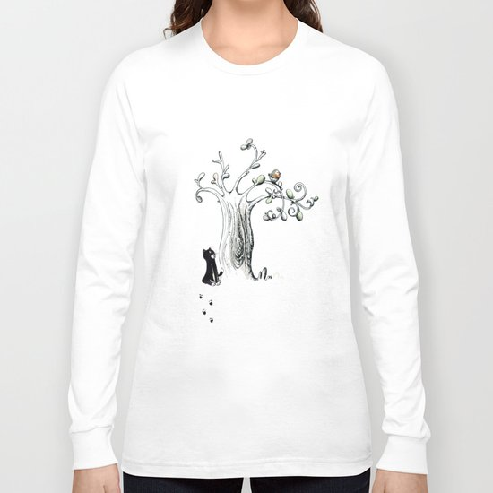 Little Cat and birdy Long Sleeve T-shirt