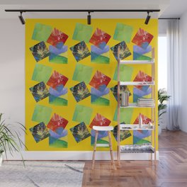 Painted Squares Jiggle - Yellow Wall Mural