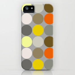 Mid-Century Giant Dots, Gray, Gold and Orange iPhone Case