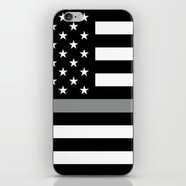 U.S. Flag: Black Flag & The Thin Grey Line iPhone Skin
