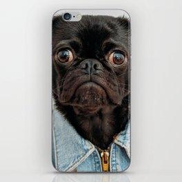 Cute Black Dog - Face Portrait iPhone Skin