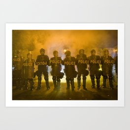 Riot Police Line - Gold  Art Print