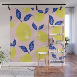Fruit Print Yellow Lemons with Blue Leaves on Pink Stripes Wall Mural