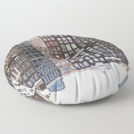 Typical Dutch houses built by the canal, Amsterdam, Netherlands photography Floor Pillow