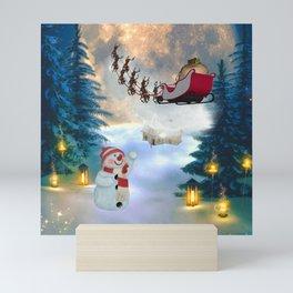 Christmas, snowman with Santa Claus Mini Art Print