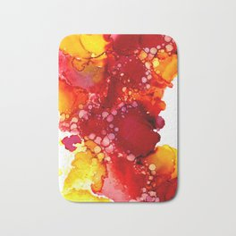 Red & yellow abstract ink art Bath Mat